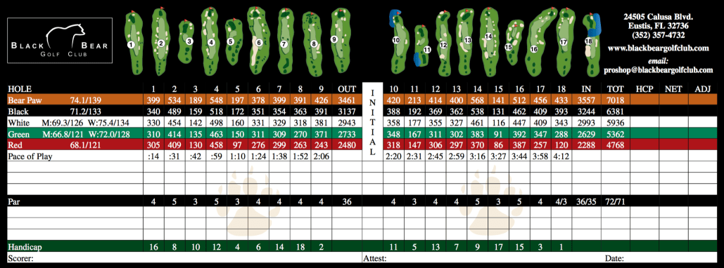 Golf Scorecard Mount Dora
