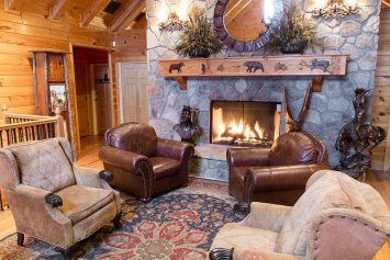 Fireplace at Black Bear Lodge