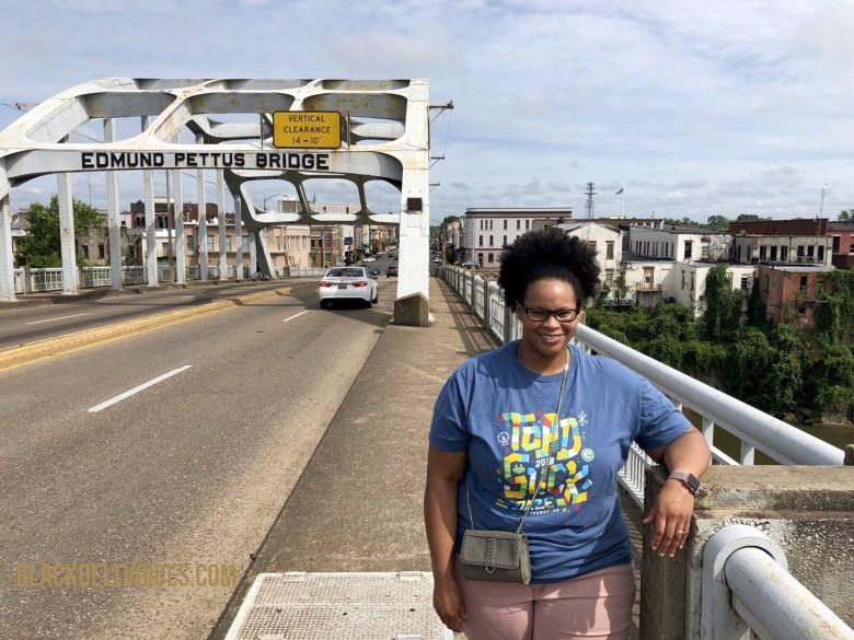 Adena in Selma on the Edmund Pettus Bridgea