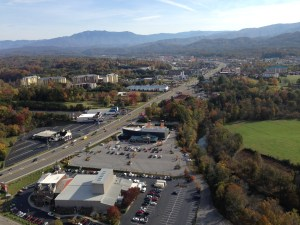 View toward Pigeon Forge and the Smoky Mountains