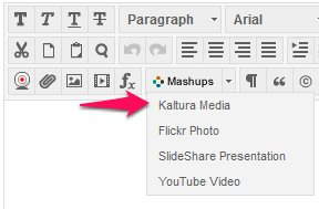 Kaltura media in mashups dropdown