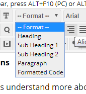 Screenshot of the available text format options in the black rich text editor.