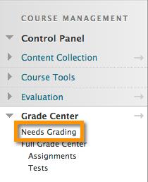 image showing Grade Center-Needs Grading