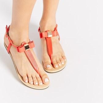 Sandales corail noeud - peach bow sandals, 21.99€