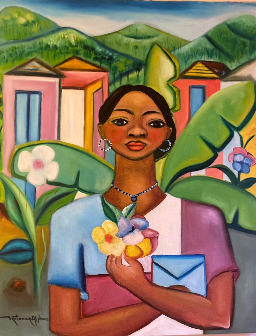 Girl with flowers and letter