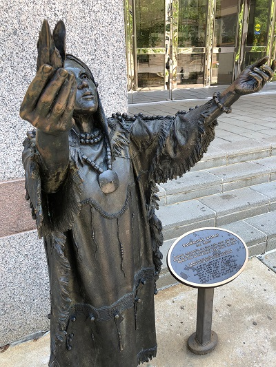Sauratown Woman statue at North Carolina Museum entrance in Raleight