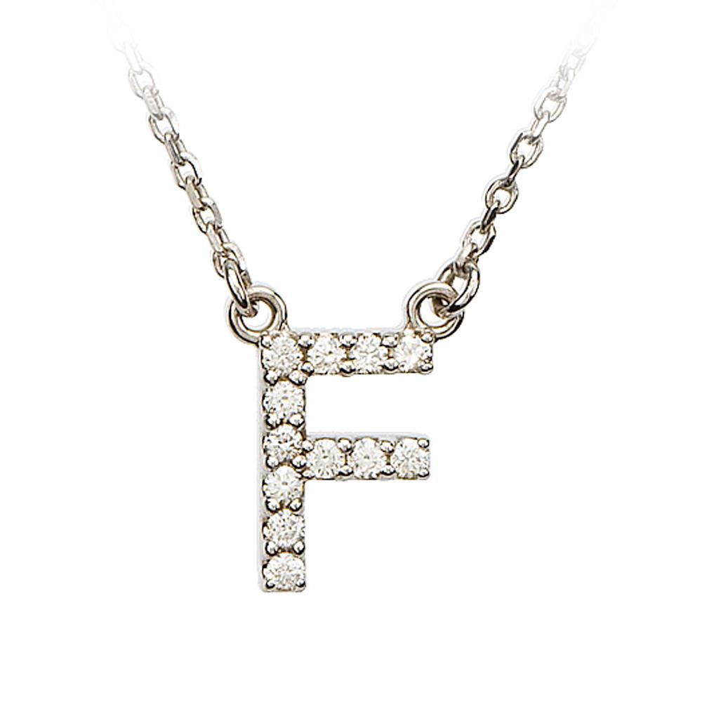 1/8 Cttw Diamond & 14k White Gold Block Initial Necklace