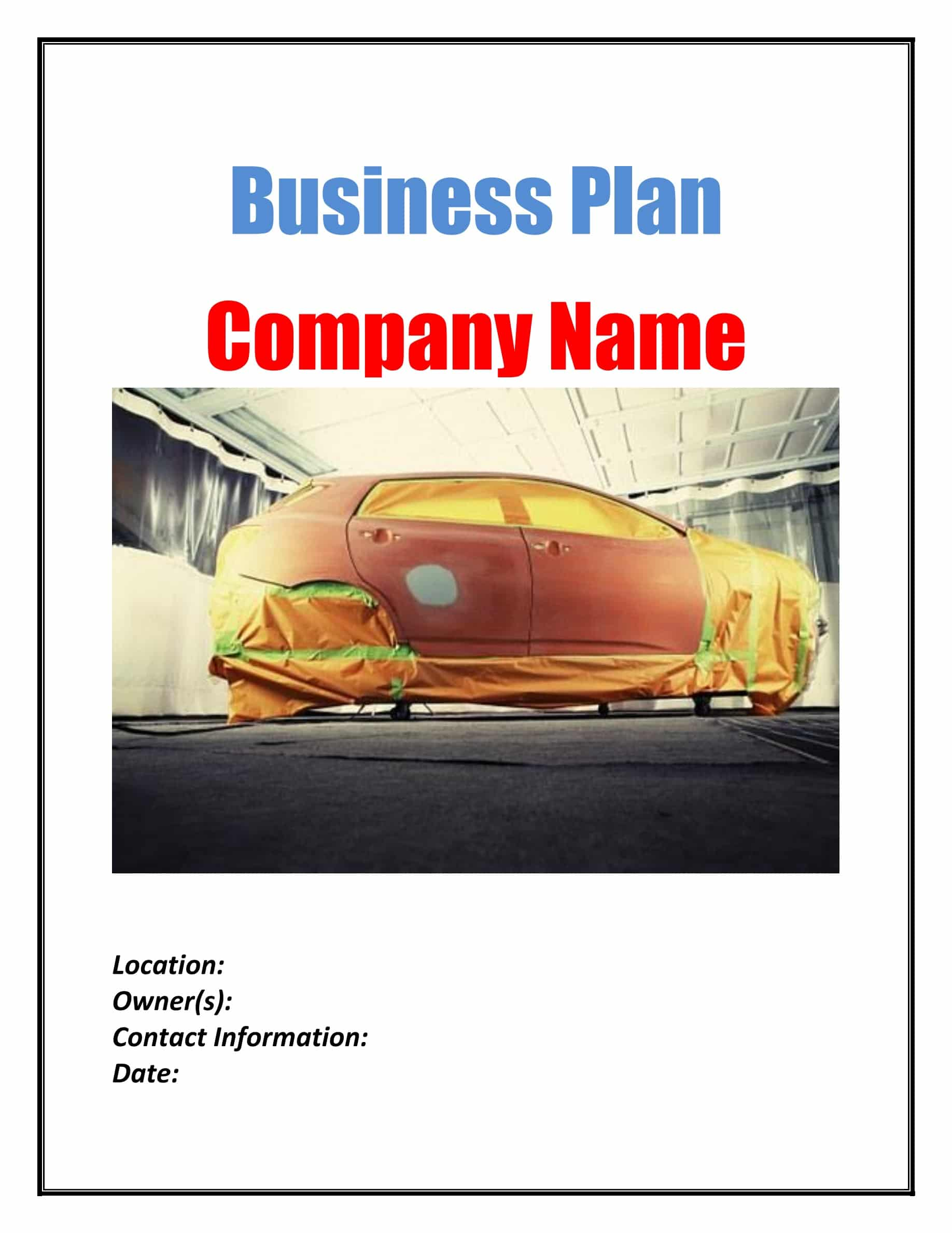 Auto Body Repair Business Plan Template Sample Pages