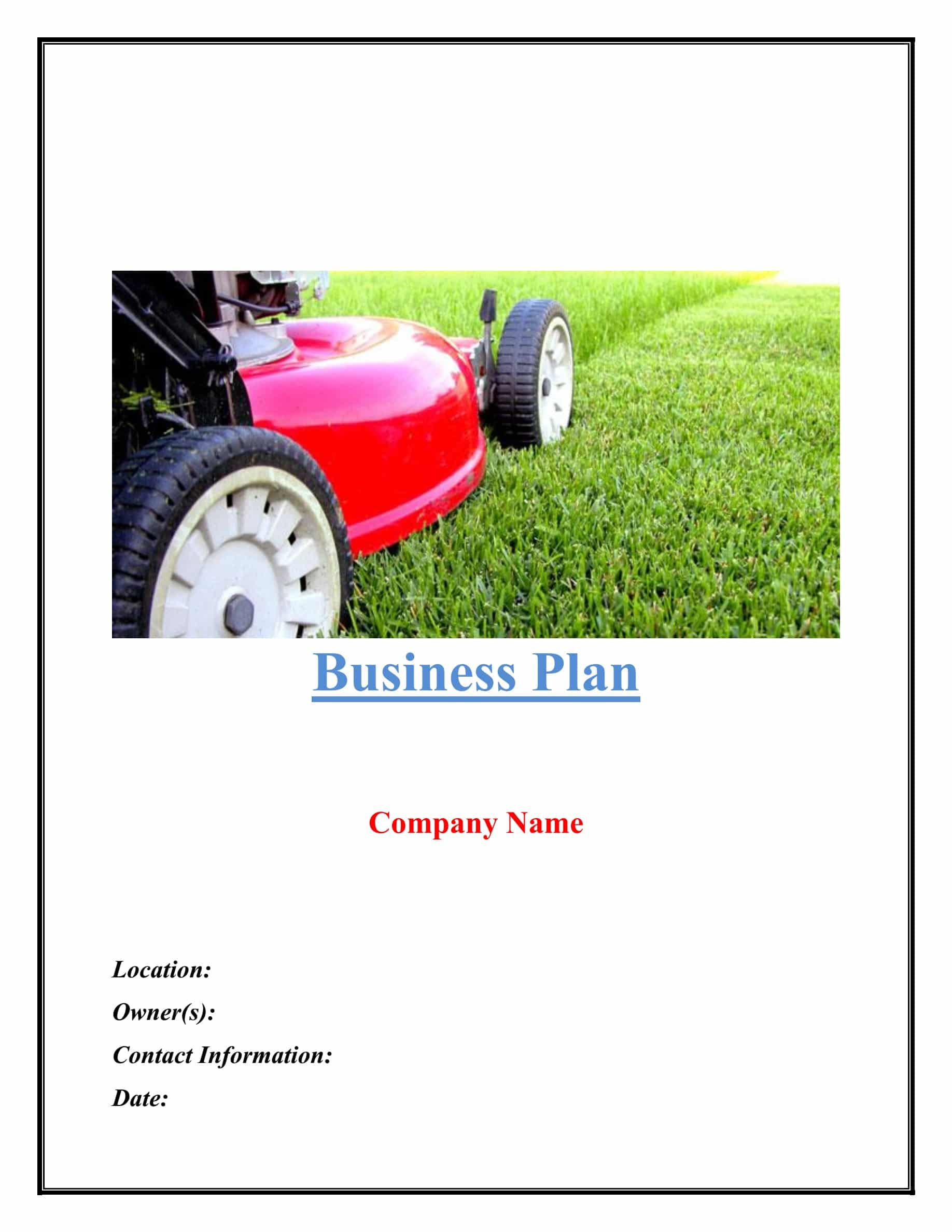 Landscaping Business Plan Template Sample Pages