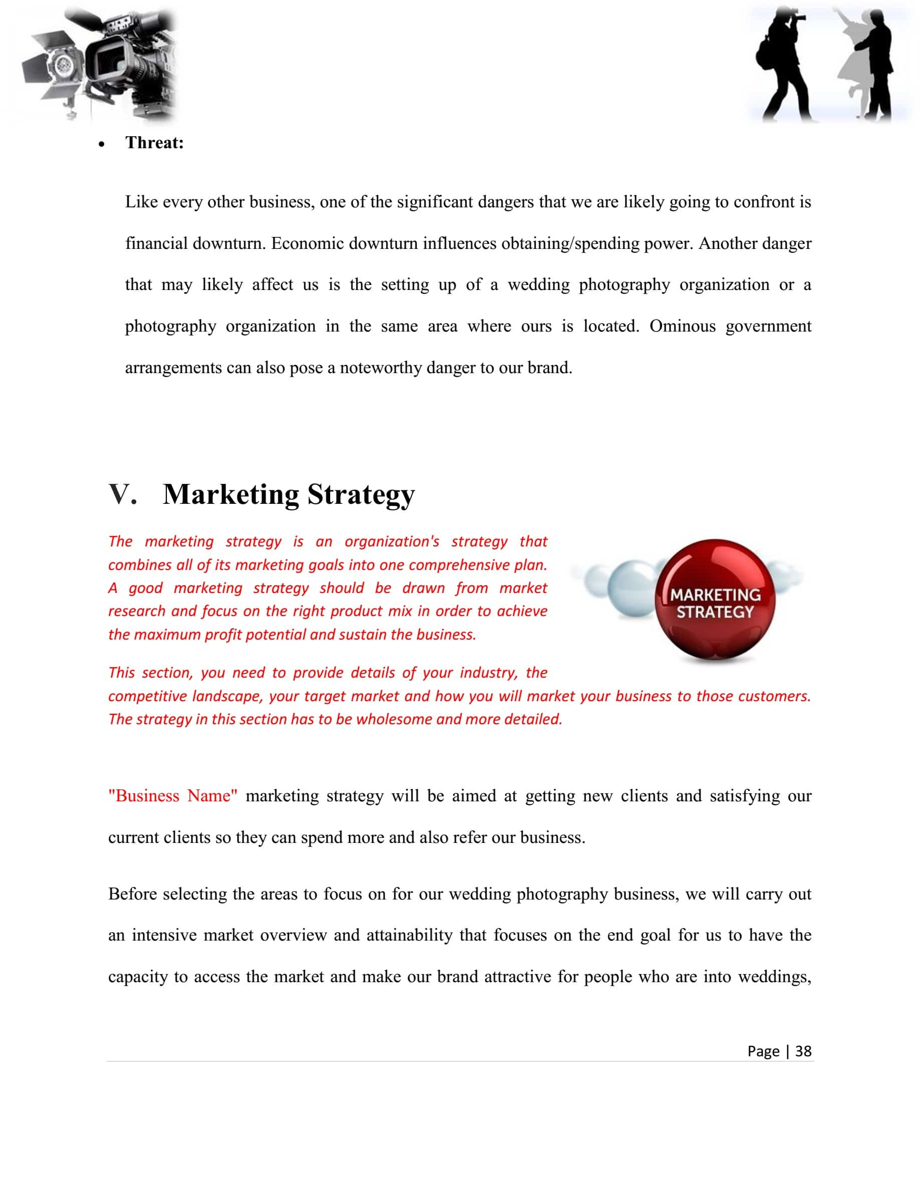Photography Business Plan Template Sample Pages
