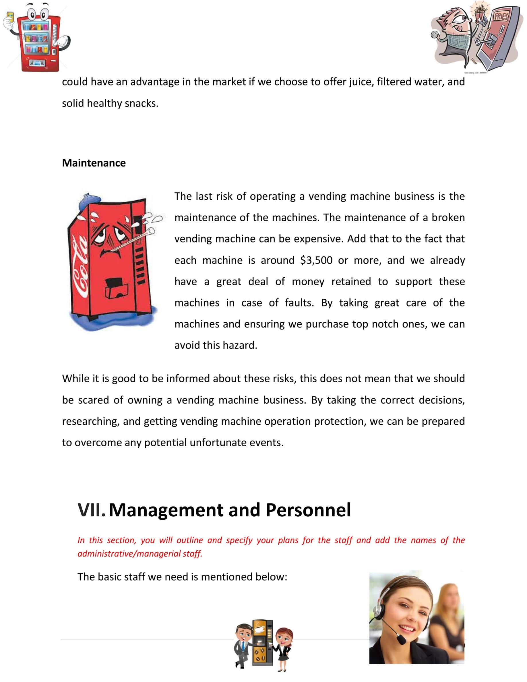 Vending Machine Business Plan Template Sample Pages