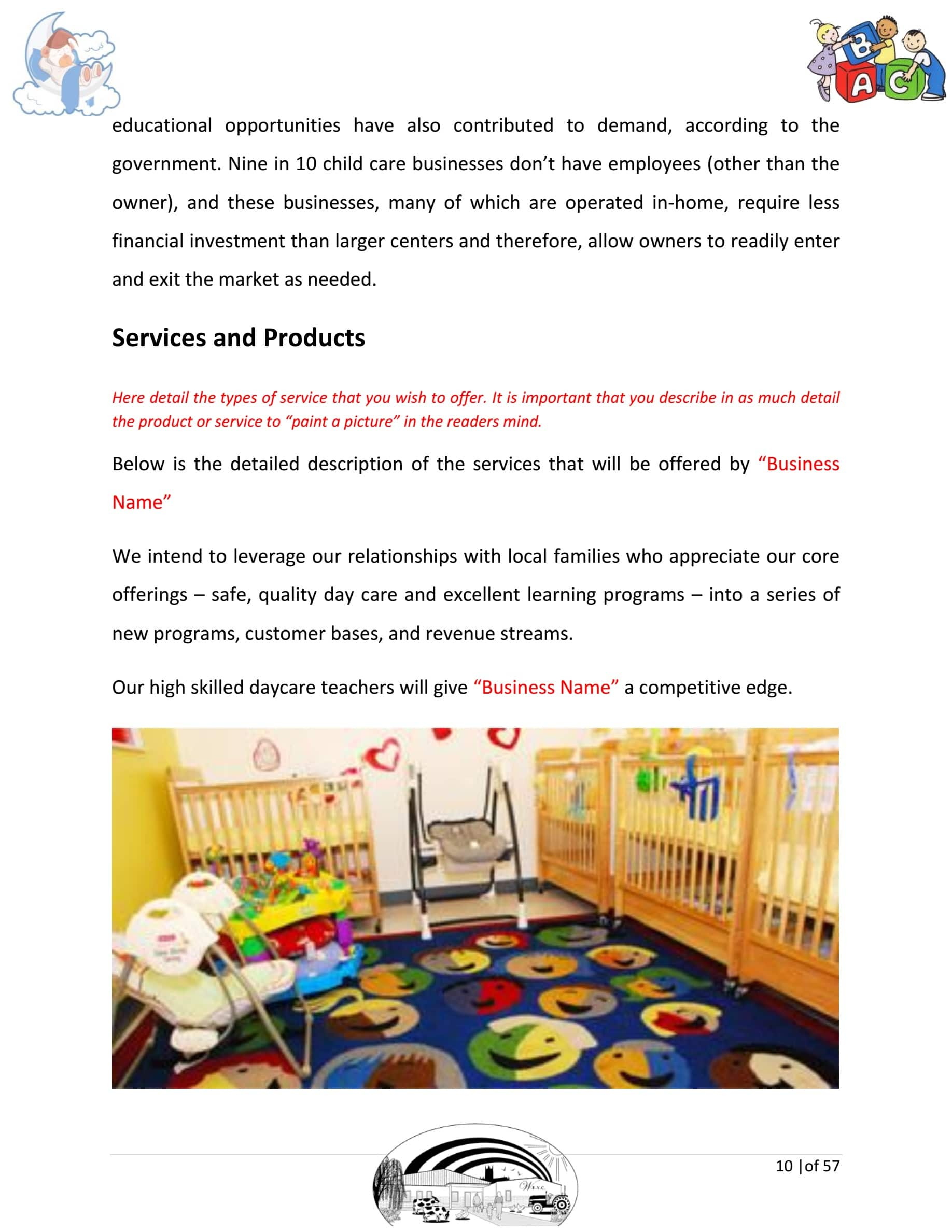 Day Care Business Plan Template Sample Pages