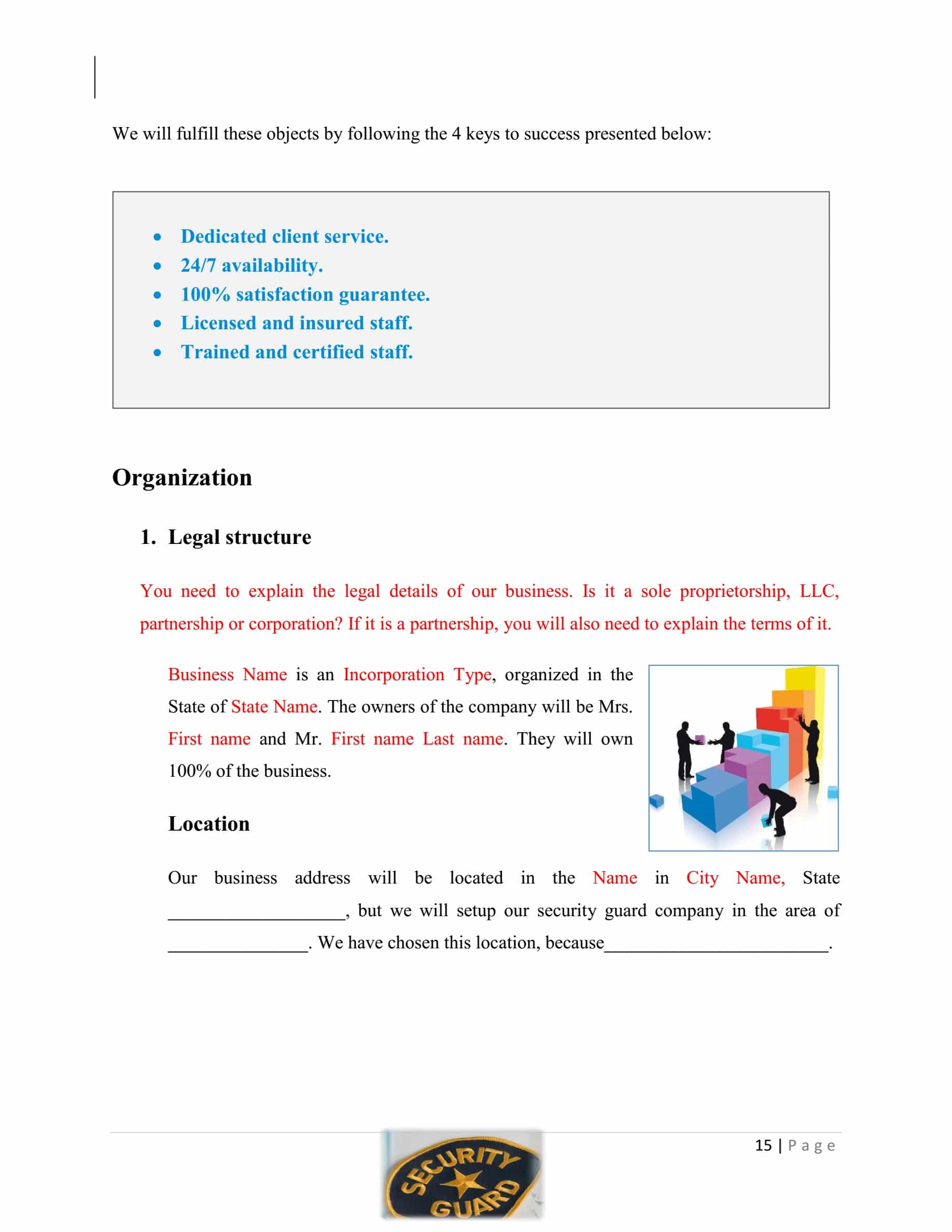 Security Guard Company Business Plan Template Sample Pages