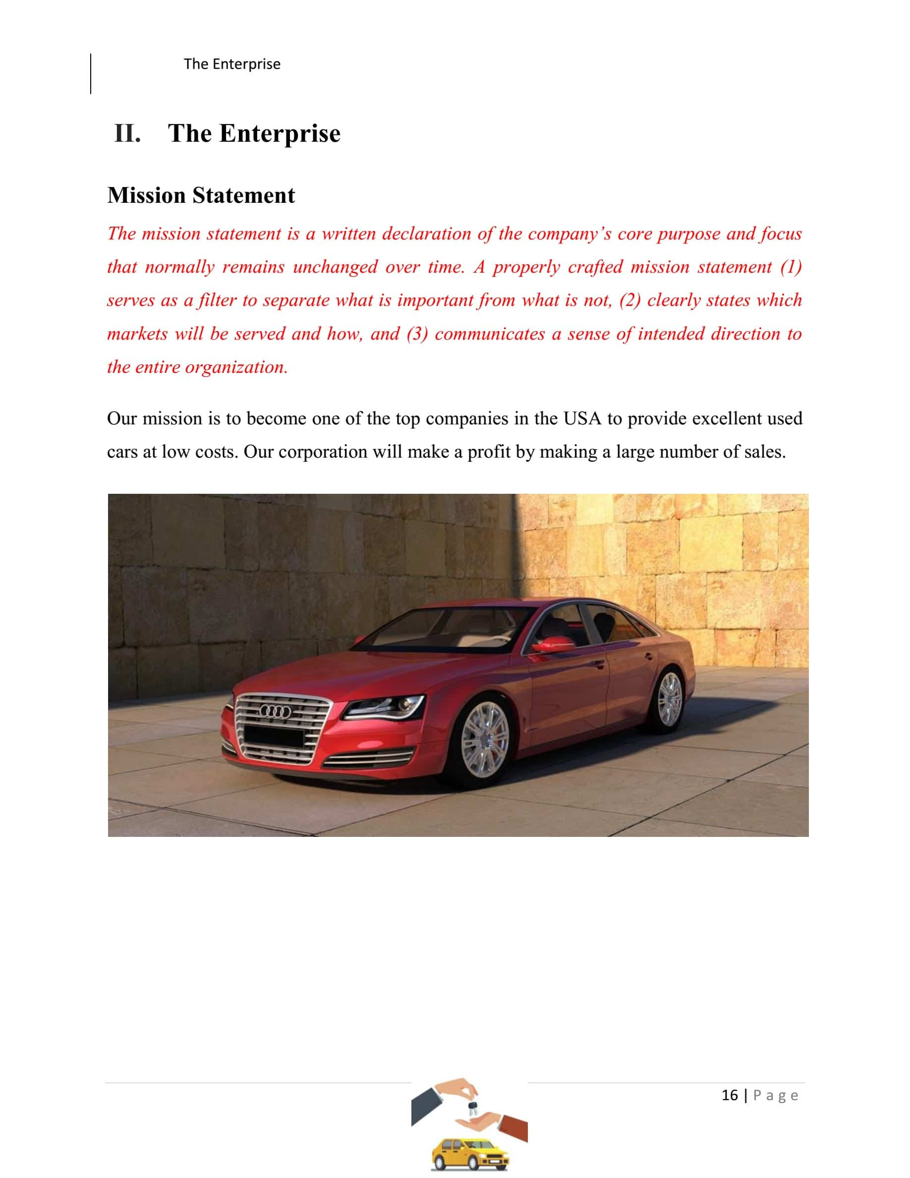 Used Car Dealer Business Plan Template Sample Pages