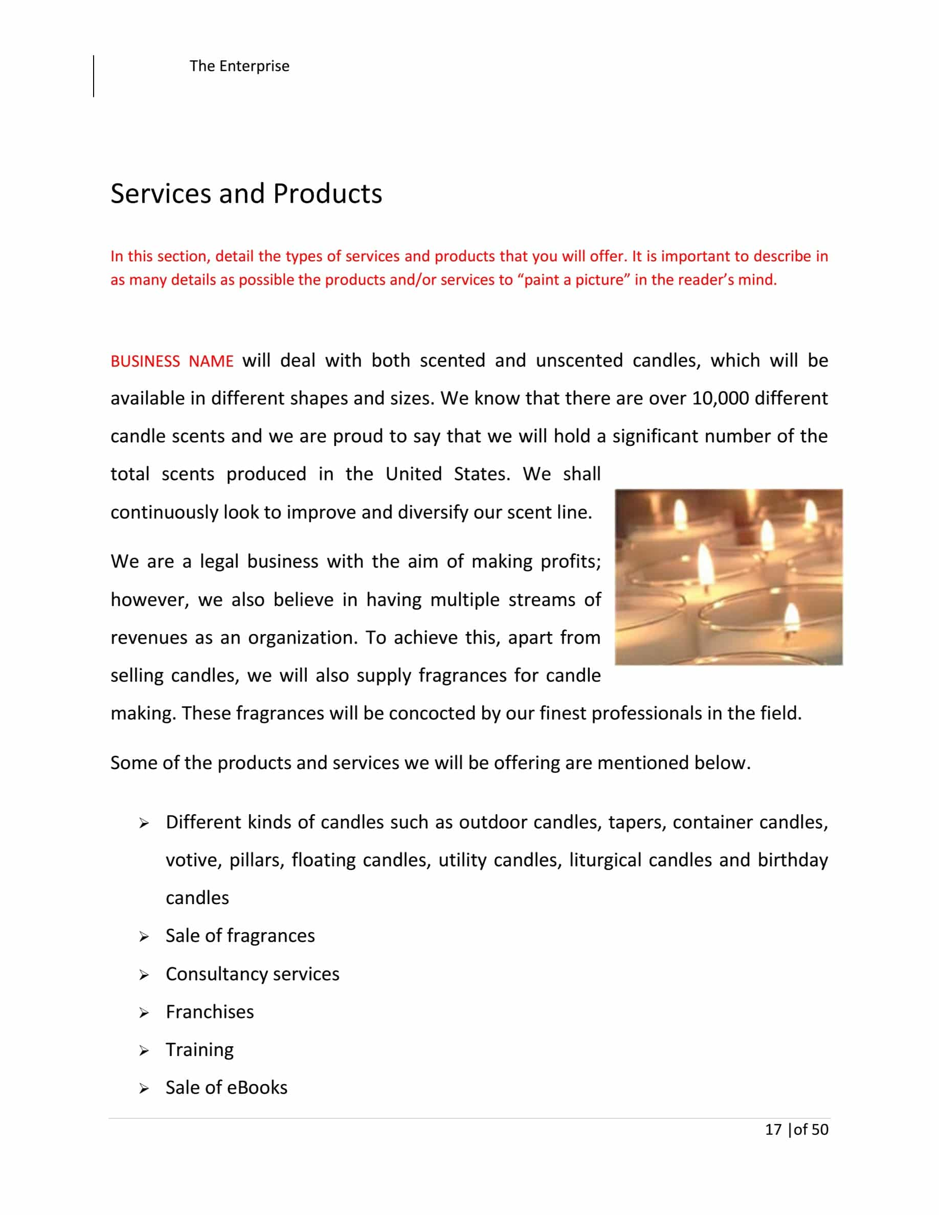 Candle Making Business Plan Template Sample Pages