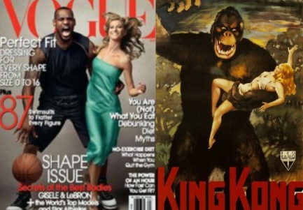 LeBron James and Gisele Bündchen on the cover the April 2008 edition of Vogue magazine