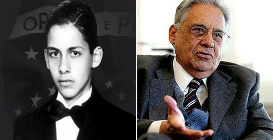 Former President Fernando Henrique Cardoso as a young man and recently