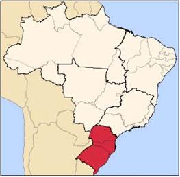 Top to bottom: Southern Brazilian states of Paraná, Santa Catarina and Rio Grande do Sul