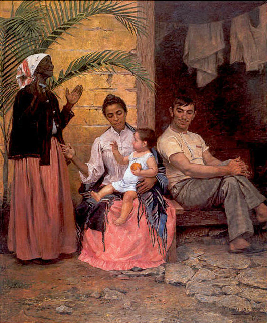 The 1895 painting 'A Redenção de Cam' which represents the Brazilian ideology of 'embranquecimento' or whitening