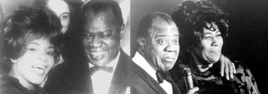 Jazz legend Louis Armstrong with Elza Soares, left, and Ella Fitzgerald, right