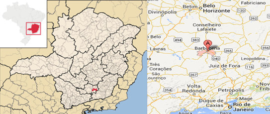 """State of Minas Gerais in southeast Brazil (city of Barbacena in red) (left). Barbacena, marked """"A"""", is located 169 kilometers (105 miles) south of the capital and largest city, Belo Horizonte"""