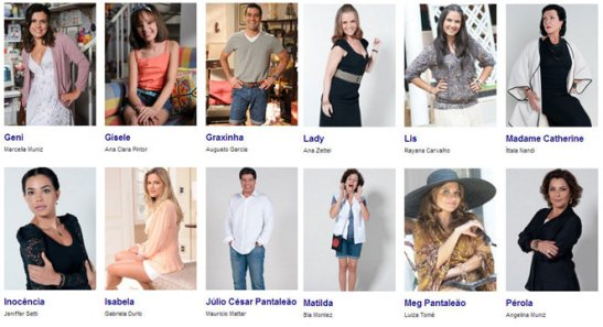 """Actors and characters featured on Rede Record's novela """"Dona Xepa"""""""