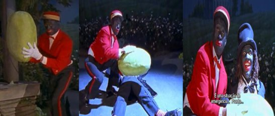 """Scene from """"Bamboozled"""" refers to the stereotype of African-American adoration of watermelon"""