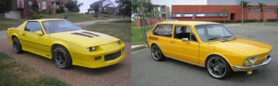 1985 Chevy Camaro (left) Volkswagen Brasília, made between 1973 and 1982