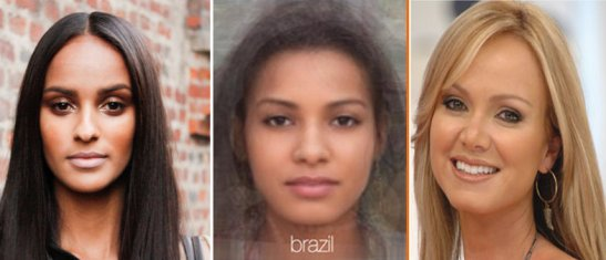 "Model Gracie Carvalho, ""average face"" of Brazil and television host Eliana Michaelichin Bezerra"