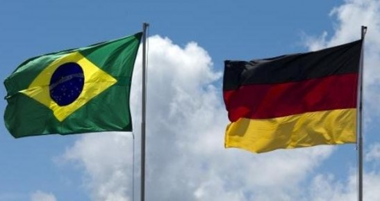 The flags of Brazil and Germany