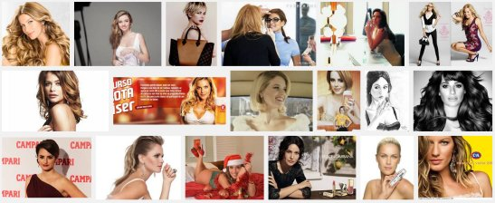 """Using the keyword """"garota propaganda"""" meaning something like """"poster girl"""", a screen shot of the first three rows of photos using Google Images"""
