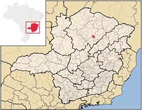Map of Juramento in the southeastern state of  Minas Gerais