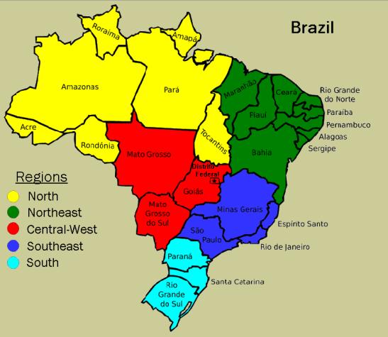 Map of Brazil's five regions