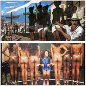 "Top: Slave auction reproduction Bottom: Menezes poses among ""bundas"""
