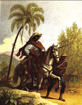 "A ""capitão do mato"" as portrayed in a painting"