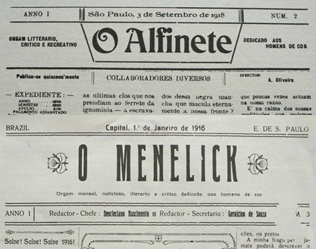 "Front pages of the ""O Alfinete"" and ""O Menelick"" newspapers"