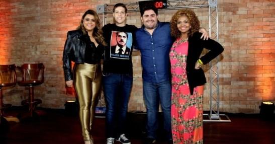 "Preta Gil, Fábio Porchat, César Menotti and Gaby Amarantos, contestants on ""Medida Certa"""