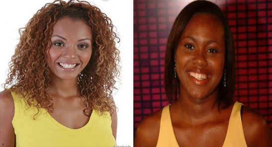 "Aline Mattos (left), of ""BBB 13"" (2013) and Aline dos Santos, of ""BBB 5"" (2005)"