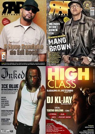 Racionais MCs members, EdiRock,Mano Brown, Ice Blue and DJ KL-Jay on various magazines covers and flyers