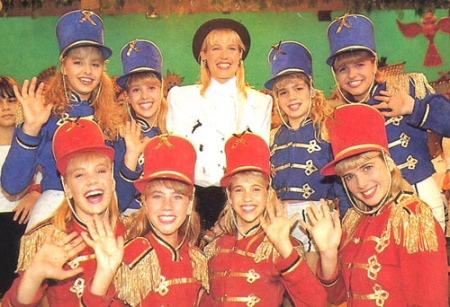 """Xuxa (in white) and her """"Paquita"""" dance group"""