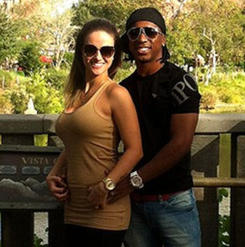 Soccer star Arouca, a victim of racism during a game, with his wife Lailane