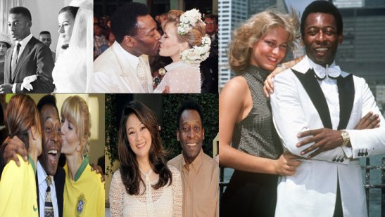 """Pelé's women"": Clockwise from top left: first wedding to Rosimeri Cholbi in 1966, second wedding to Assiria Nascimento , then girlfriend Xuxa, current girlfriend Márcia Aoki and two fans"