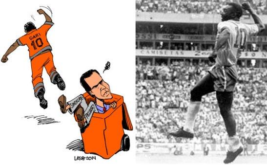 Political cartoonist Carlos Latuff combines the gari victory with iconic goal celebration of the legendary Pelé