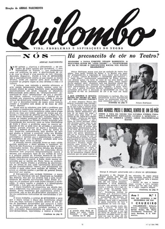 """""""Quilombo"""" newspaper (1948-1950) edited by Nascimento"""