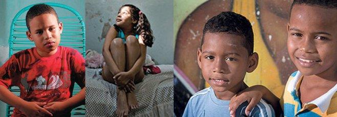 Children left behind after maternity death: Roger, son of Nadja, Alice, daughter of Alyne, Humberto and Marcos Vinícius, children of Viviane