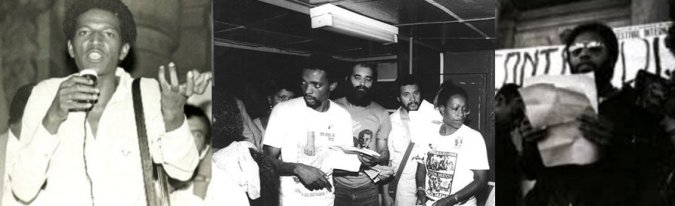 Hamilton Cardoso (left) and Milton Barbosa (right), two founding members of the MNU. In the middle are activists during the 1988 march