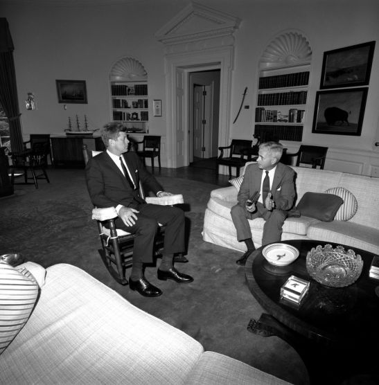 US President John F. Kennedy meets with the American Ambassador to Brazil, Lincoln Gordon