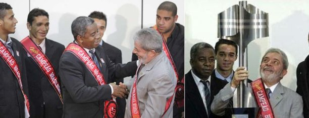 Andrade and Flamengo players meet with then-president Lula da Silva