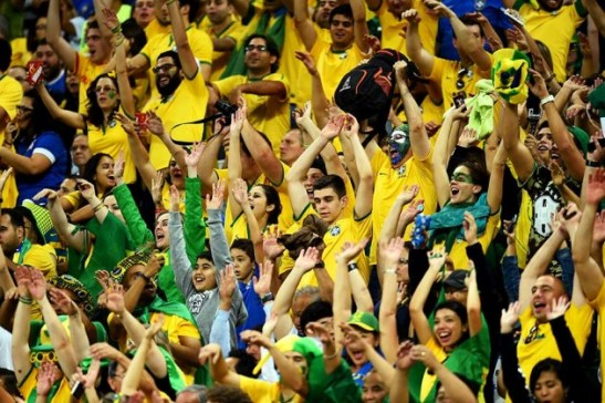 Brazilian fans at opening match of 2014 FIFA World Cup Brazil Group A game