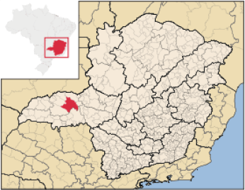 Map of Uberlândia located in the state of Minas Gerais in southeastern Brazil